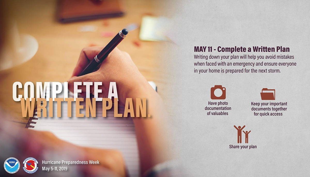 May 11, Complete a Written Plan. Writing down your plan will help you avoid mistakes when faced with an emergency and ensure everyone in your home is prepared for the next storm.