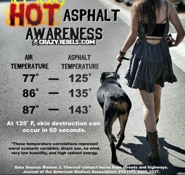 Hot asphalt awareness - At 77 degrees the asphalt can be 125 degrees and skin destruction can occur in 60 seconds.