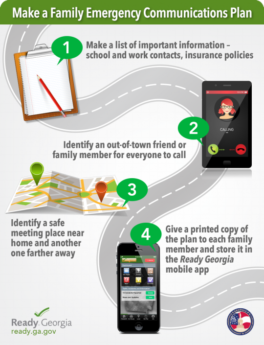 Make a family emergency communications plan. Make a list of important information, identify an out of town contact for everyone to call, identify a safe meeting place near home and another one far away, give a printed copy of the plan to each family member and store it in the ready Georgia mobile app.