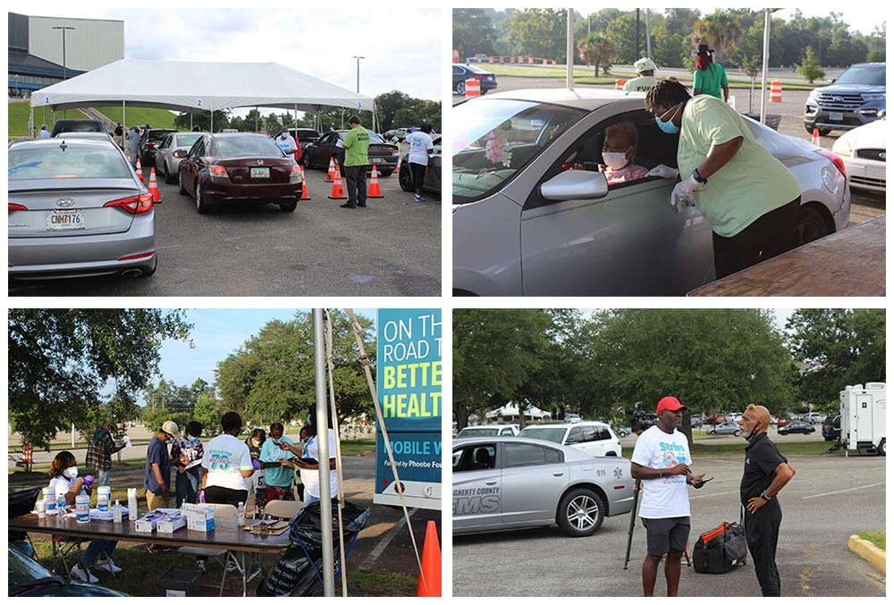 Phoebe staff and members of the County Commissioners out at the Strive for 75 vaccination event. Cars lined up, volunteers coordinating with participants.